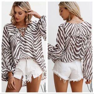 Zebra stripe oversized top lantern sleeves laceup